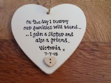 Shabby Personalised Chic Heart.. Sister In Law Wedding Any Names Dates Etc..